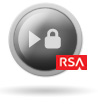 Icon: Play Button Showing Lock and RSA Logo